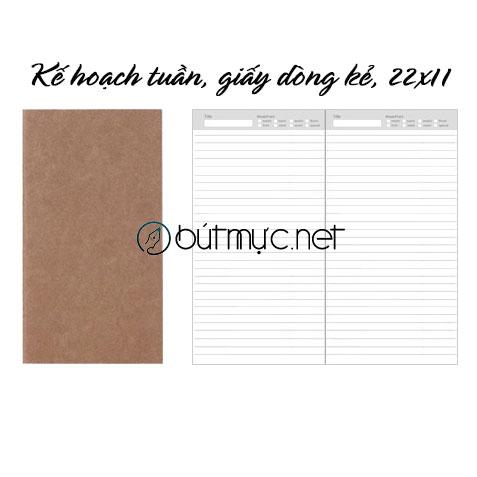 Kế hoạch tuần, giấy dòng kẻ, 22x11cm