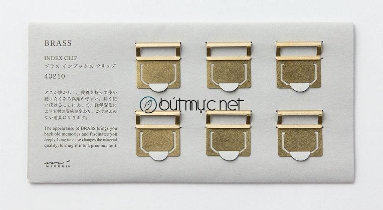 Midori Brass Index Clip - Bộ 6 đánh dấu trang ghi nhãn bằng đồng thau