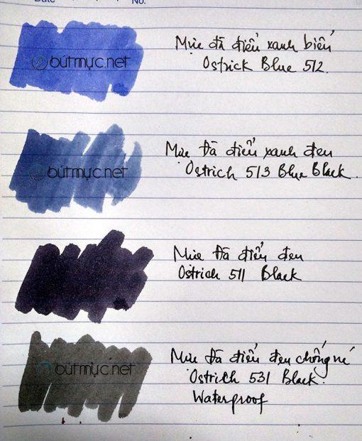 Bảng màu mực Đà điểu xanh, đen, chống nước 511, 512, 513, 531